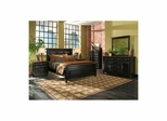 Madison 5 Piece Panel Bedroom Set Black and Cherry - Largo - LARGO-WG-B1251A-PANEL-5PC-SET