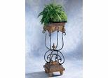 Marble Fossil Stone Top Antique Brass Pedestal Plant Stand