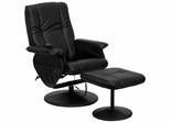 Massaging Black Leather Recliner and Ottoman with Leather Wrapped Base - BT-7600P-MASSAGE-BK-GG