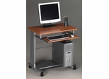 Mayline Computer Cart in Medium Cherry/Metallic Gary - 945MEC