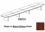 Mayline Corsica 24 Feet Boat-shaped Conference Table in Sierra Cherry - CMT24CRY