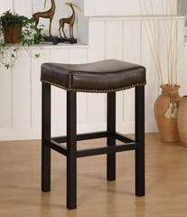 "MBS-013 Tudor Backless 26"" Stationary Barstool in Antique Brown Leather - Armen Living - LCMBS013BABC26"