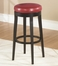 """MBS-450 26"""" Backless Swivel Barstool in Red Leather / Espresso - Armen Living - LC450BARE26"""