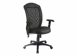 Mesh Screen Back with Vinyl Trim and Leather Seat Chair - Office Star - EX1580