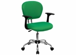 Mid-Back Bright Green Mesh Task Chair - H-2376-F-BRGRN-ARMS-GG