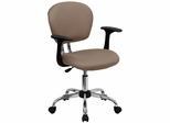 Mid-Back Coffee Brown Mesh Task Chair - H-2376-F-COF-ARMS-GG