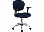 Mid-Back Navy Mesh Task Chair - H-2376-F-NAVY-ARMS-GG