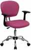 Mid-Back Pink Mesh Task Chair - H-2376-F-PINK-ARMS-GG