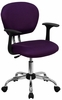 Mid-Back Purple Mesh Task Chair - H-2376-F-PUR-ARMS-GG
