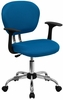 Mid-Back Turquoise Mesh Task Chair - H-2376-F-TUR-ARMS-GG