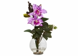 Mini Cattleya with Fluted Vase Silk Flower Arrangement - Nearly Natural - 1275-LV