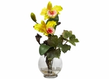 Mini Cattleya with Fluted Vase Silk Flower Arrangement - Nearly Natural - 1275-YL