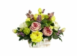 Mixed Floral with White Wash Planter Silk Arrangement - Nearly Natural - 1258