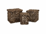Mixed Rattan Square Boxes (Set of 3) - IMAX - 35165-3
