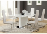 Modern Dining 7PC White Table and Upholstered Chairs Set - 102310