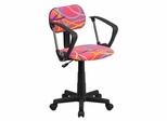 Multi-Colored Swirl Printed Pink Computer Chair - BT-OLY-A-GG