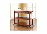 Natural Wood Top Classic Cherry Kitchen Cart / Island With Optional Stool Storage - CROSLEY-KF30051CH