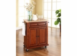Natural Wood Top Portable Kitchen Cart/Island in Classic Cherry - CROSLEY-KF30021ECH