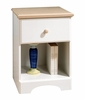 Nightstand - Night Table in Pure White/Maple - South Shore Furniture - 3263062