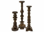 Nilay Wood Candleholders In Old Oak Finish (Set of 3) - IMAX - 5536-3