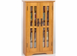 Oak Mission Style Glass Door Wall Mounted DVD Cabinet - Leslie Dame DVD Storage - M-190