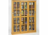 Oak Mission Style Sliding Glass Door DVD Cabinet - Leslie Dame DVD Storage - MS-1050