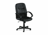 Office Chair Mid Back - Black Leather - LLR60121