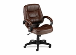 Office Chair Mid Back - Brown Leather - LLR63283