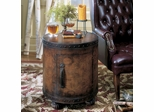 Old World Map Wooden Drum Table