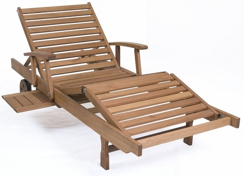 Outdoor Chaise Lounge - Mariscal Lounger - Eucalyptus Wood - Wood Finish - INT-BT-214