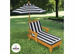Outdoor Chaise with Umbrella and Navy Stripe Fabric - KidKraft Furniture - 00105