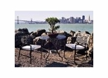 Outdoor Patio Set - Folding Iron Round Table and Chairs Set - Black - Pangaea Home and Garden Furniture - FM-SET-5