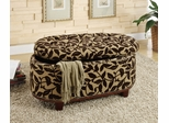 Oval Ottoman with Floral Pattern - Kerani - 10072