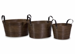 Oval Wrapped Rattan Baskets (Set of 3) - IMAX - 51337-3