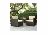 Palm Harbor 2 Piece Outdoor Wicker Set - Two Outdoor Wicker Chairs - CROSLEY-KO70005BR