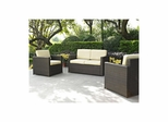 Palm Harbor 3 Piece Outdoor Wicker Set - Loveseat and Two Outdoor Chairs - CROSLEY-KO70003BR