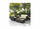 Palm Harbor 3 Piece Outdoor Wicker Set - Loveseat, Chair and Glass Top Table - CROSLEY-KO70006BR