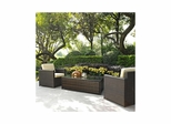 Palm Harbor 3 Piece Outdoor Wicker Set - Two Outdoor Wicker Chairs and Glass Top Table - CROSLEY-KO70004BR