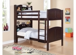 Parker Twin Bookcase Bunk Bed in Brown Cherry - 460442