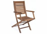 Patio Outdoor Chair - Parati Folding Chair With Arms (Set of 2) - Eucalyptus Wood - Wood Finish - INT-BT-224