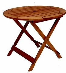 Patio Outdoor Table - Bistro Folding Table - Eucalyptus Wood - Wood Finish - INT-BT-315