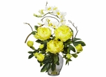 Peony and Orchid Silk Flower Arrangement - Nearly Natural - 1175-YL