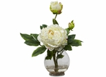 Peony with Fluted Vase Silk Flower Arrangement - Nearly Natural - 1278-WH
