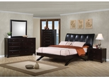 Phoenix Queen Size Bedroom Furniture Set in Black Vinyl / Rich Deep Cappuccino - Coaster - 300356Q-BSET