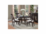 Plaza Square Round Dining Table with 4 Arm Chairs - Pulaski