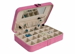 Plush Fabric Jewelry Box and Ring Case with Twenty-Four Sections in Rose Blush - Maria - Jewelry Boxes by Mele - 0054523