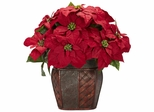 Poinsettia with Decorative Vase Silk Arrangement - Nearly Natural - 1264