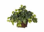 Pothos with Coiled Rope Planter Silk Plant - Nearly Natural - 6704
