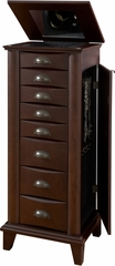 Powell Merlot Jewelry Armoire with Brushed Nickel Hardware