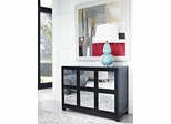Powell Mirrored 6 Drawer Black Wood Console